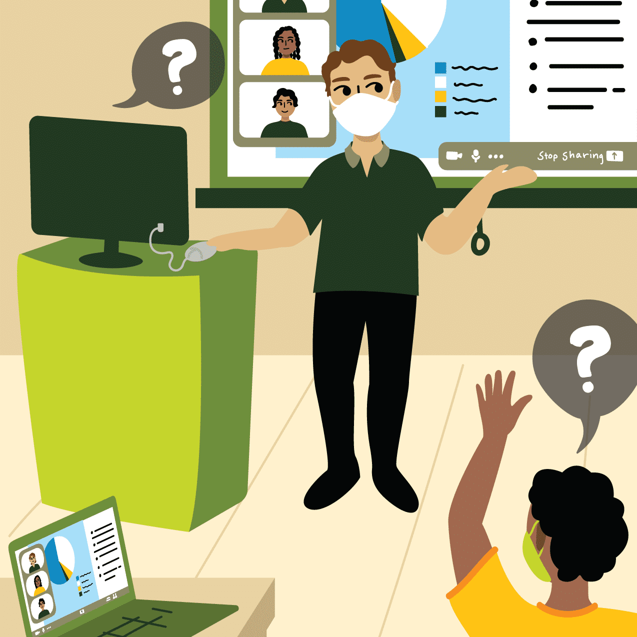Illustration of masked professor at the front of a classroom. A Zoom meeting is visible in the classroom display with questions coming in from students in class and in zoom.